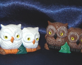 Miniature Owls - Pair of Ceramic Owls - Miniature Animals - Ceramic Miniatures - Ceramic Animals