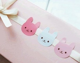 SALE 12 or 24 or 36 stickers cute bunny rabbit face kawaii gift wrapping packaging stationery cute birthday Mother's day party craft supply