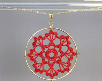 Scallops doily necklace, red hand-dyed silk thread, 14K gold-filled
