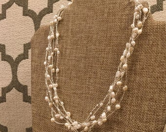Multi Strand Freshwater Pearl and Fine Silver Necklace / Bridal Jewelry