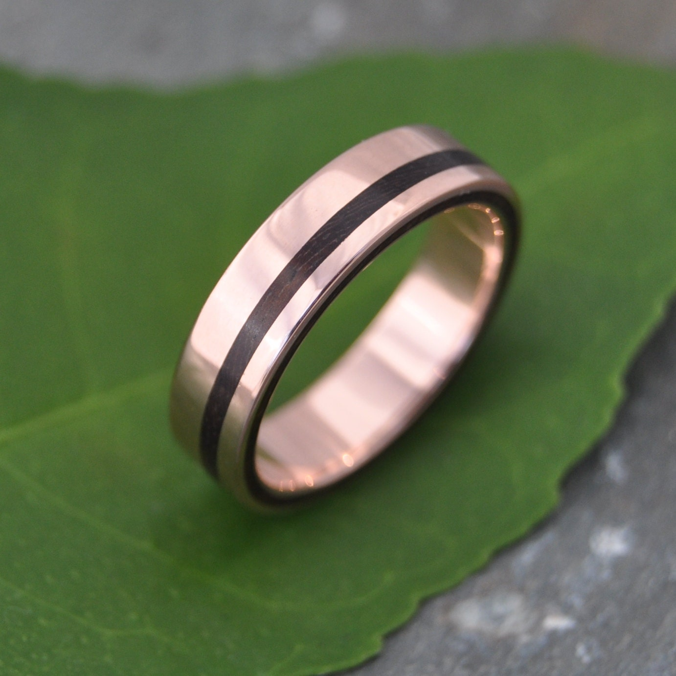 Rose Gold Wood Ring Equinox Nacascolo ecofriendly recycled