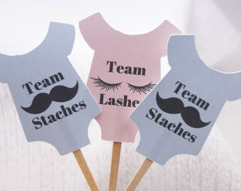 Gender Reveal Cupcake Picks Baby Boy Baby Girl Team Lashes Team Staches Gender Reveal Party Baby Shirt Party Food Picks Set of 12