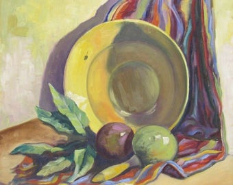 Vintage Oil Painting of Bowl with Marrocos