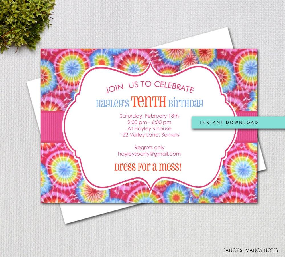 Tie dye editable invitation template instant download zoom stopboris Gallery