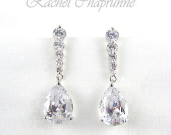 Bridal chandelier earrings, Vintage bridal earrings, White gold 18K, Austrian crystal, Teardrop crystal earring, Gatsby bridal earring, Nadi