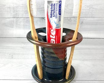 Toothbrush Holder, Toothpaste Caddy, Pottery Toothbrush Holder, Ceramic Toothbrush Holder - In Stock and Ready to Ship