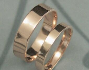 Gold Wedding Ring Set-14K Rose Gold Modern Wedding Band Set-5mm & 3mm Wide Wedding Bands-Flat Edge Bands-Free Inside Engraving-Personalized