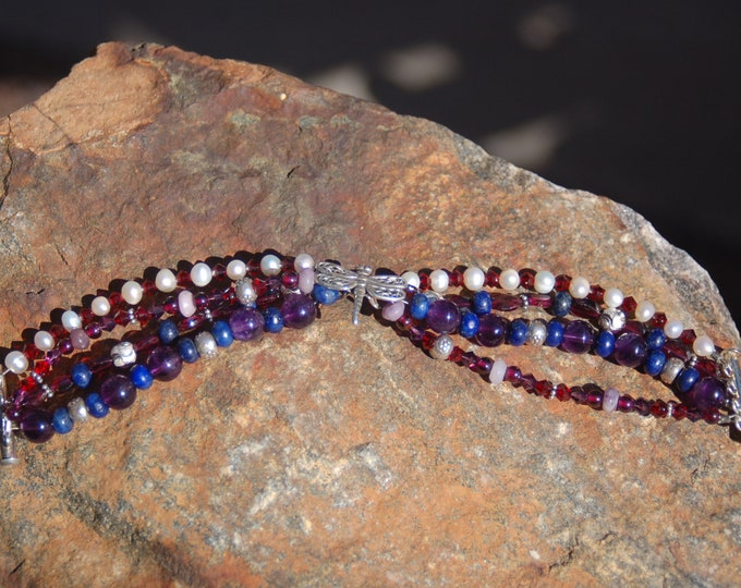 "Featured listing image: Dragonfly Gemstone Bracelet, Dragonfly Amethyst Garnet Pearl and Lapis Lazuli Bracelet, ""Advancing on Wings"""