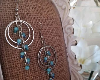 Mirage Waters Luminous Geometric Earrings with Hoops and Beaded Waterfall Cascade in Variable Shades of Blue Faceted Glass and Silver Chain