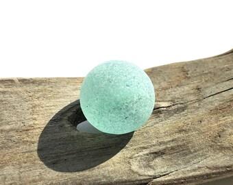Aqua Cats Eye Sea Glass Marble - Genuine Found Beach Glass Marble - Jewelry Supplies - Pendant - Sea Glass Marble// LN22