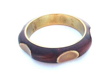 Boho Jewelry, Wooden Wood Bangle, Inlay Exotic Star Diamond Cuff Bracelet, Natural Wooden Jewelry