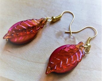 Red leaves and fruit earrings