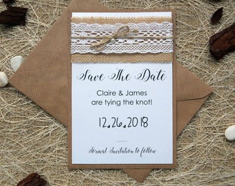 Rustic Save The Date Wedding Cards, Save The Date Birthday Party, Burlap and Lace Save the Date Cards, Elegant Eco Friendly Save The Dates