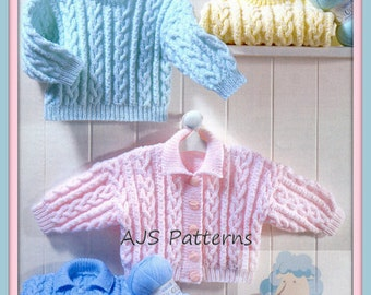 PDF Knitting Pattern for Cardigan & Sweater to fit 16 to 22 Inches - Instant Download