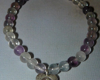"Om Heart Shape Fluorite ""Concentration"" Bracelet"