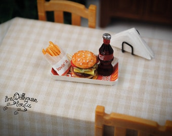 Super realistic hamburger/Burger with French fries made from polymer clay miniature food, fast food