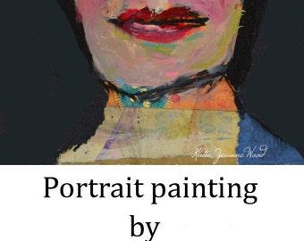 Woman Portrait Art Painting. Original Artwork. Portrait Miniature Gift for Her.