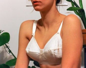 NEW Silk Soviet Bra / White Satin & Lace New With Tags USSR Vintage Brassiere / Russian Bombshell Lingerie, Double Heart Bustier