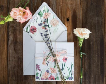 As featured Boho Weddings | Hedgerow | Botanical Floral Wildflowers Customisable Wedding Invitations Stationery Sample Pack