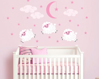 Sheep Vinyl Wall Decal Sticker for Nursery, Girl's Room or Playroom