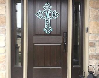 Front door wreaths/ Cross/ door hanger/monogram door wreath/ initial door hanger/ Metal Cross/ Wreath/ Outdoor Wreath/Outdoor Metal Wall Art
