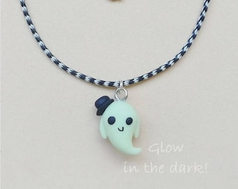Ghost Glow in the Dark Ghost Fimo clay Necklace Ghost Lord hat Trick or treat pendant fluorescent lanyard phosphorescent handmade