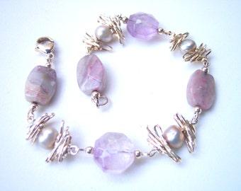 Pink Amethyst & Pearl Bracelet, Sterling Silver Bracelet, Gift for Her, February Birthday Gift for Her, Lepidolite, June Birthstone