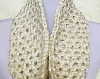 Cream Natural Infinity Scarf, cowl, loop scarf, circle scarf, eternity scarf, crochet infinity scarf, knit cowl