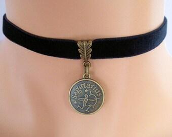 black velvet choker, sagittarius choker, sagittarius necklace, stretch ribbon, zodiac charm, antique bronze