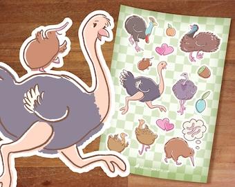 Stickers / Giant Bird Club Stickers / Ostrich / Cassowary / Kiwi bird / Kawaii stickers / Bird stickers / Emu Rhea Ratites / Flightless bird