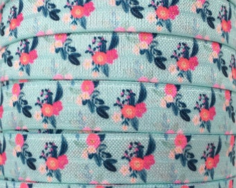 """Aqua with Pink Floral 5/8"""" Fold Over Elastic 1, 3 or 5 yards"""