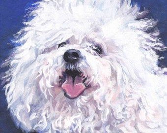 "Bichon Bolognese dog art CANVAS print of LA Shepard painting 8x8"""