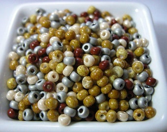 Oregon Picture Jasper Glass Seed Bead Mix 50 grams size 6/0 Rockhound