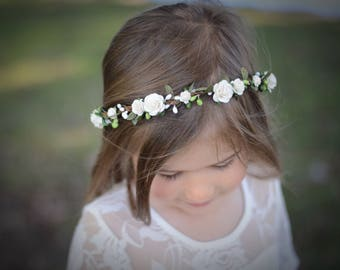Ivory flower crown, firsf communion, floral halo, floral crown,rustic wedding crown, bridal crown, maternity crown, flower girl crown, boho