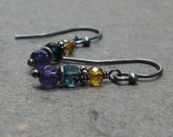 Amethyst Earrings Citrine, Blue Quartz Gemstone Stack Oxidized Sterling Silver Gift for Her August, November, February Birthstone
