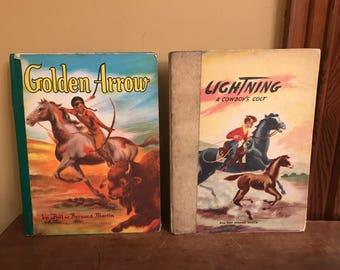Vintage Cowboy and Indians Books/Vintage Children Cowboy Books/Bill and Bernard Martin Books/Children Western Books