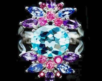 Sky Blue Topaz, Tanzanite, Amethyst, .925 Sterling Silver Ring 6.25
