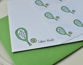Tennis Personalized Custom Stationery Cards Gift Set with Stickers