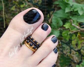 Stacking Toe Ring, Stacking Rings, Goth Ring, Goth Toe Ring, Gold Toe Ring, Black Toe Ring, Stretch Bead Toe Ring