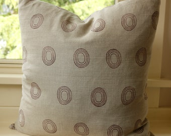 Block printed 100% linen pillow cover