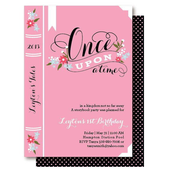 Book Birthday Invitations Once Upon A Time Party Invitation