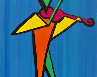 Violinist in Geometric Shapes, Acrylics on Canvas, Original Artwork, Musician Painting, Geometric Painting, Abstract Art