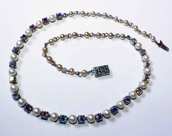 Vintage 1960 faux pearl and aurora borealis rhinestone necklace shipping included U.S.A and Canada