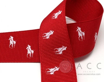 5Yards 25mm(1'') Red/White Riding Horse Print Grosgrain Ribbon