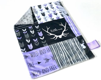 Purple Deer Baby Girl MINKY Lovey Blanket, MINI Minky Baby Blanket, Taggie Blanket, Pink and Black Woodland Lovey Blanket, Baby Shower Gift