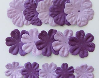 Paper Flower, 15 Purple Flower Embellishments, Paper Flowers for Crafts, Craft Paper Flowers, Purple Flowers, Scrapbooking, Card Making