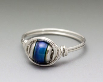 Color-Changing Mirage Mood Sterling Silver Wire Wrapped Bead Ring