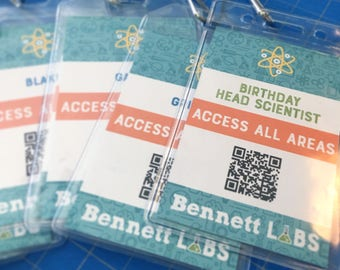 Science party badge, lanyard, access pass, mad scientist, birthday, party