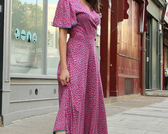 Wrap Dress  L/XL SIZE in Pink and Blue/Green Modal Cotton Mid Length with Sleeve