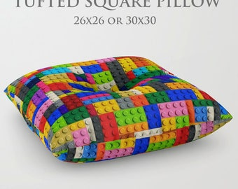 STUFFED Pillow-Lego Floor Pillow-Kids Floor Pillow-Lego Decor-Round Floor Pillow-TV Floor Cushion-Lego Cushion-Kids Seating-Tufted Cushion
